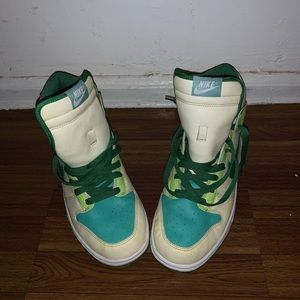 Green, Blue and Cream Nike Air Force Ones